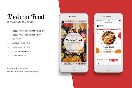Mexican Food Instagram Stories and Post Template