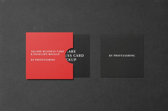 Thumbnail for Square Business Card Mockup - Black Edition
