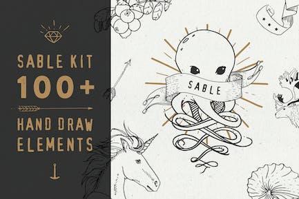 Sable Kit - handgezeichnete Sammlung