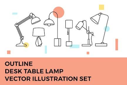 Desk Table Lamp Vector Illustration Set