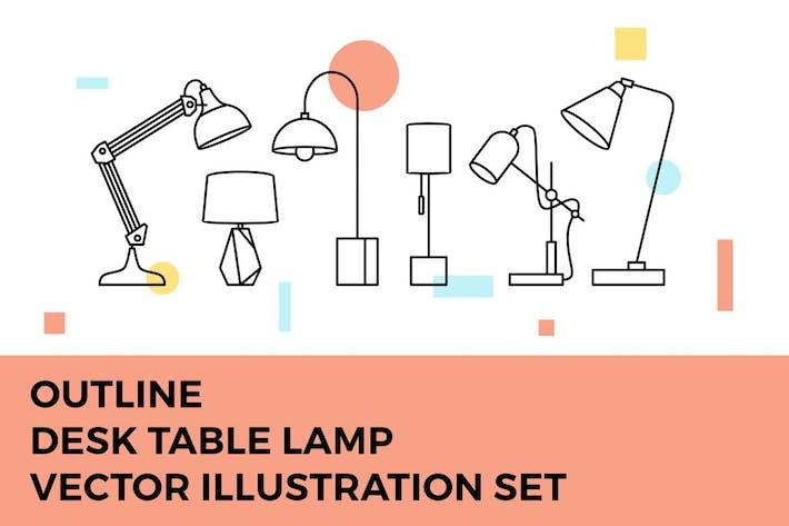 Thumbnail for Desk Table Lamp Vector Illustration Set