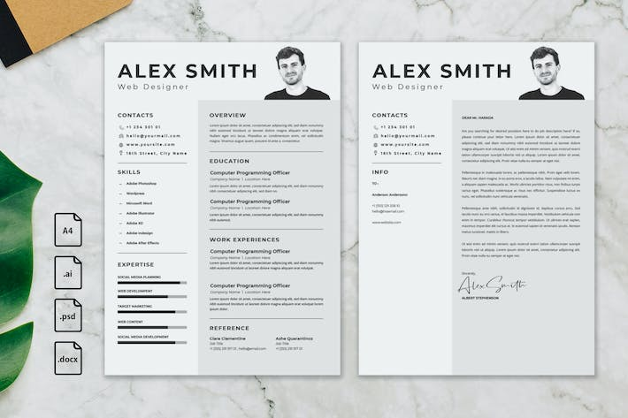 Thumbnail for Professional CV And Resume Template Alex Smith