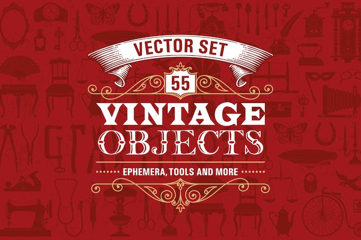 55 Vintage Retro Objects Vector Set