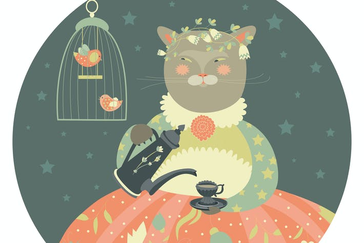 Thumbnail for Cute cat with teapot wearing dress