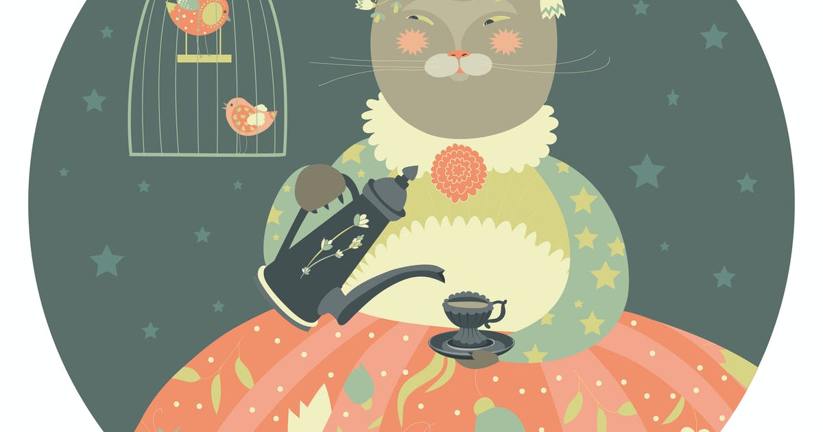 Download Cute cat with teapot wearing dress by masastarus