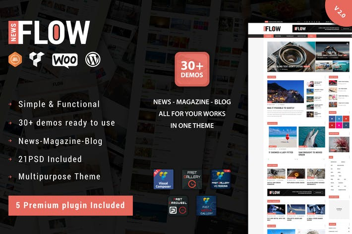 Thumbnail for Flow News - Magazine und Blog WordPress Thema