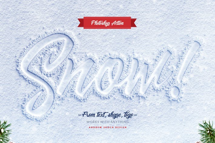 Thumbnail for Snow Lettering - Photoshop Action