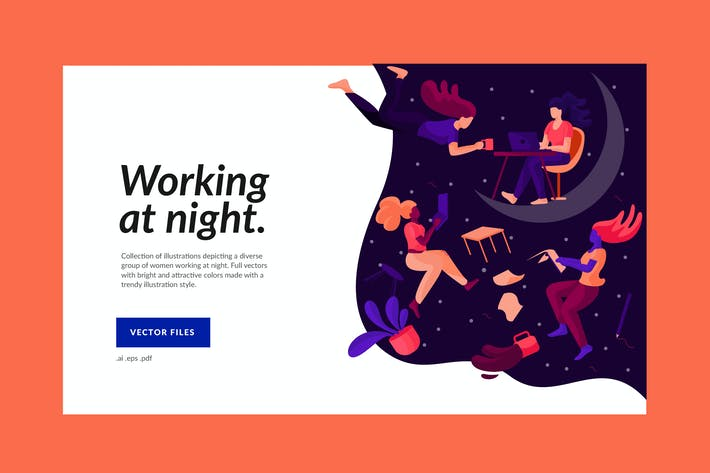 Thumbnail for Women Working at Night Illustration