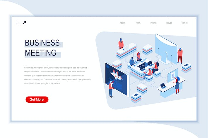 Thumbnail for Business Meeting Isometric Banner Flat Concept