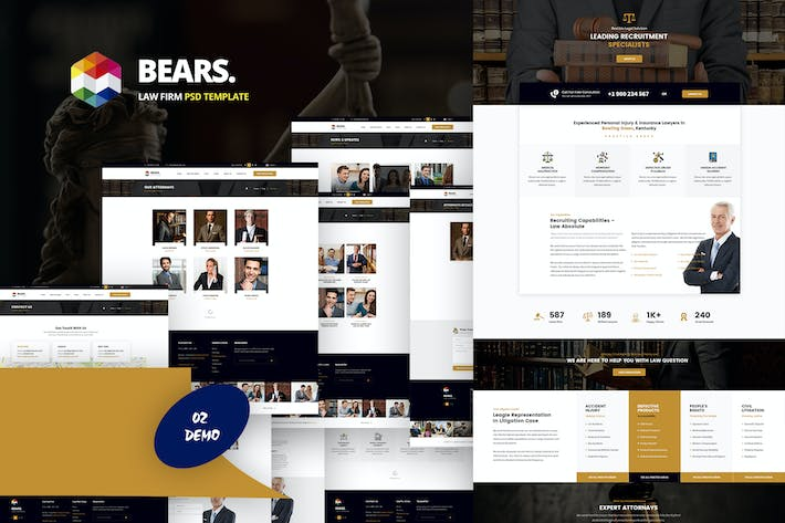 Thumbnail for Bear's - Law Firm PSD Template