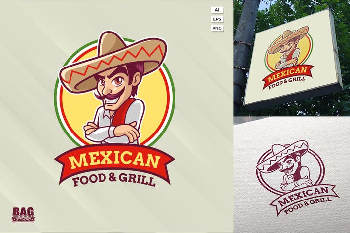 Mexican Cartoon Guy Logo Template