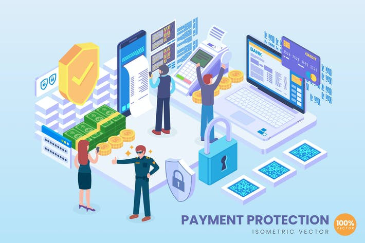 Cover Image For Isometric Payment Protection Technology Vector