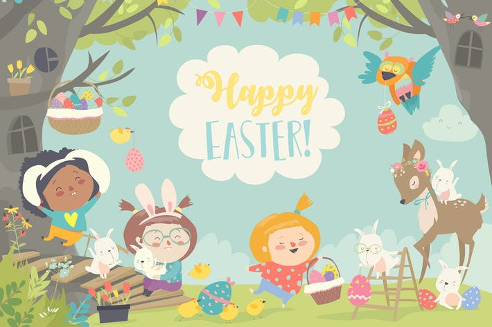 Thumbnail for Happy children and animals celebrating Easter.