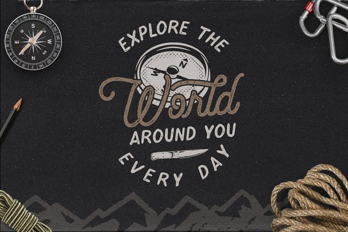 Thumbnail for Vintage Travel Logo / Explorer Badge Retro Design