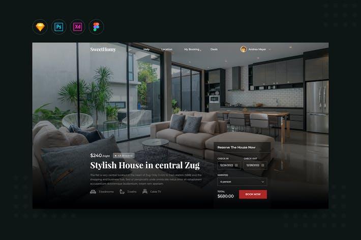 Thumbnail for DailyUI.V13 House Rental Booking Website Landing