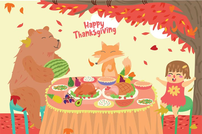 Thumbnail for Glückliches Thanksgiving - Vektor illustration