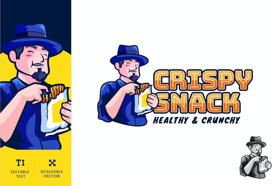 Crispy Snack Logo Illustration Vector - product preview 0