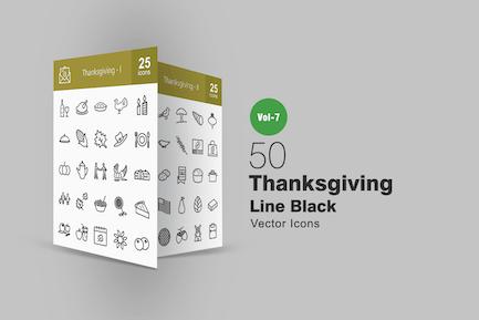 50 Thanksgiving Line Icons