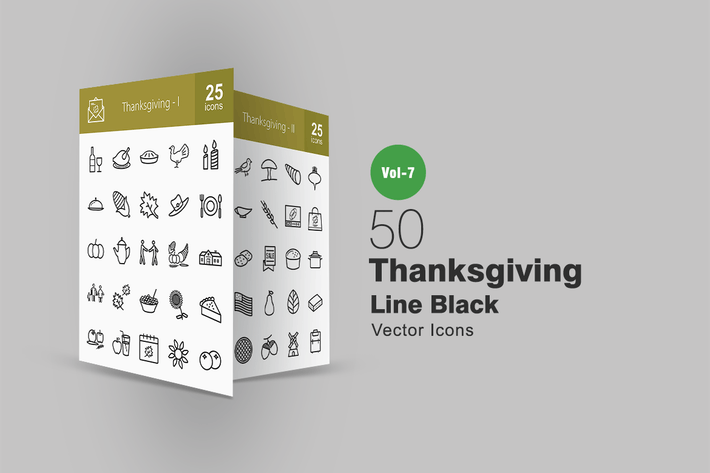 Cover Image For 50 Thanksgiving Line Icons