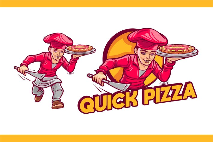 Thumbnail for Cartoon Pizza Cook Character Mascot Logo