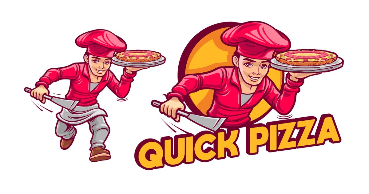 Download Cartoon Pizza Cook Character Mascot Logo by Suhandi