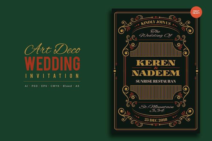 Thumbnail for Art Deco Wedding Invitation PSD And Vector Vol.9