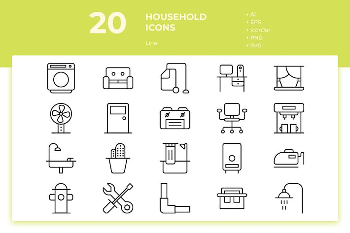 Thumbnail for 20 Household Icons (Line)