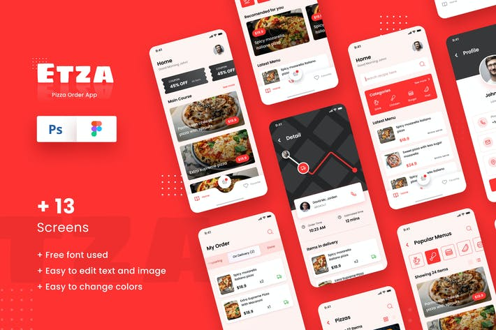 Thumbnail for Pizza Order iOS App Design Template Figma & PSD