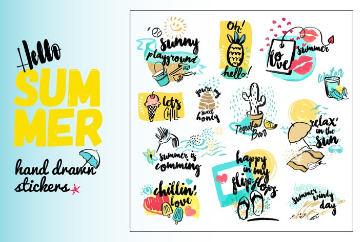 Thumbnail for Set of hand drawn watercolor signs of summer.