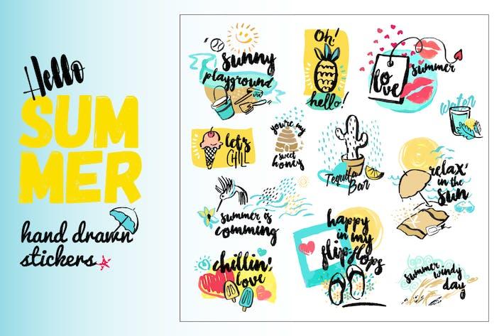 Conjunto de signos de acuarela dibujados a mano de verano.