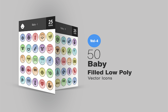Thumbnail for 50 Baby Filled Low Poly Icons