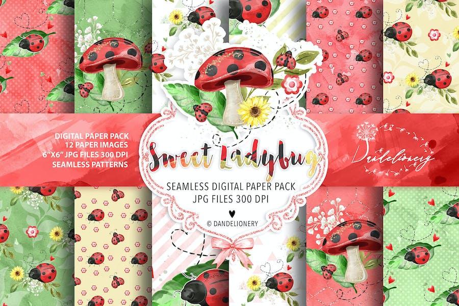 Sweet Ladybug digital paper pack