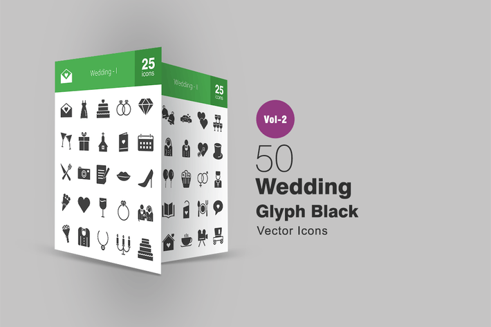 Thumbnail for 50 Wedding Glyph Icons