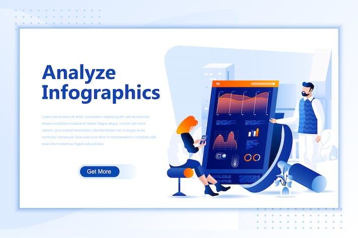 Thumbnail for Analyze Infographic Flat Landing Page Header