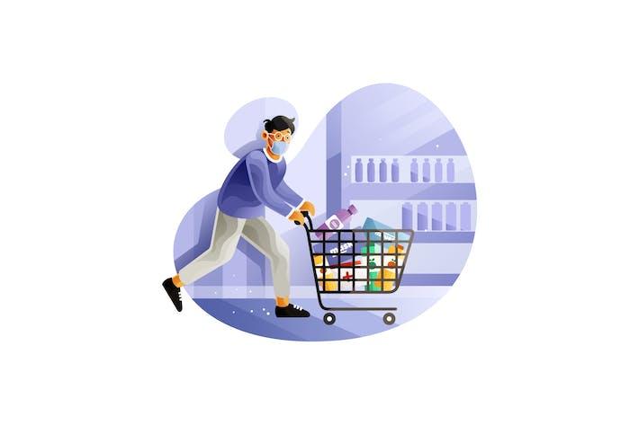 Thumbnail for Man panic buying running with full cart in market