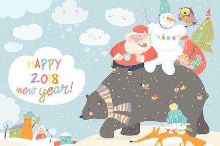Santa Claus with snowman riding