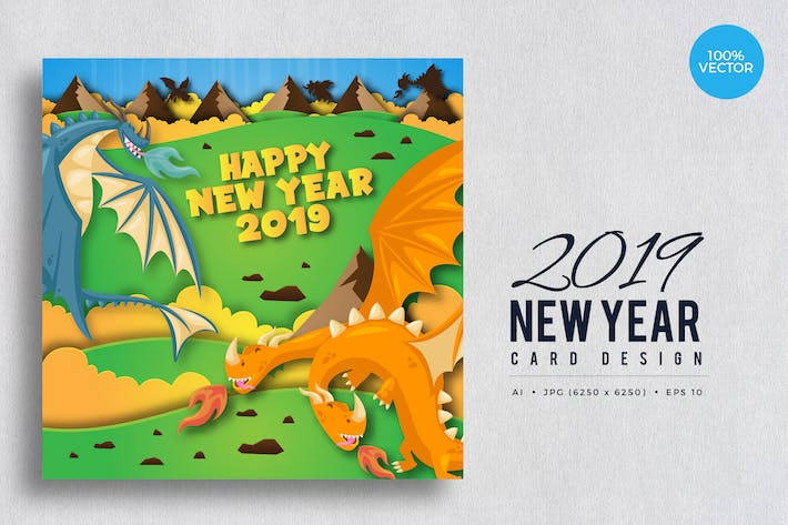 Thumbnail for Cute Dragon Theme Happy New Year 2019 Vector Card