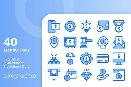 40 Geld-Ikonen-Set - Blaue Lineale Farbe