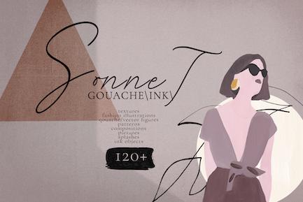 Sonnet - abstract contemporary gouache/ink set