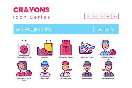 88 Basketball Sports Line Icons