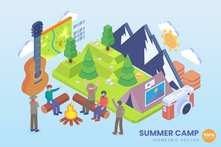 Isometric Summer Camp Vector Concept