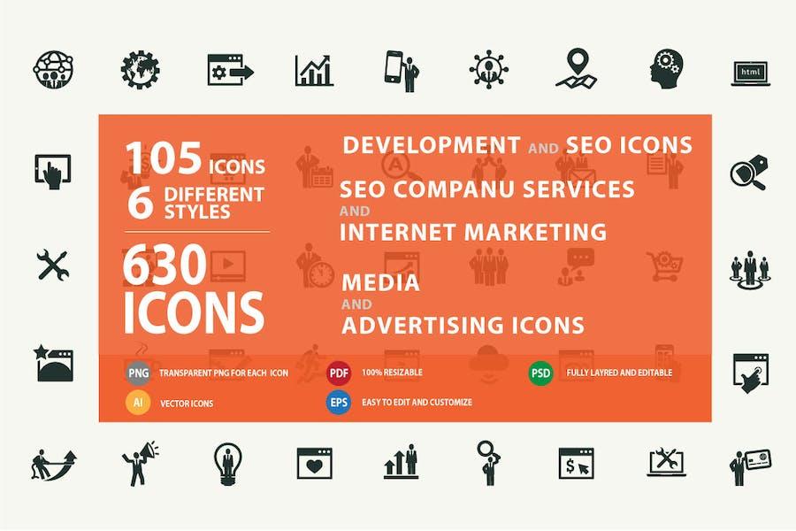 Set von modernen SEO Services Icons
