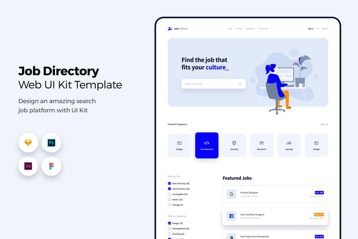 Thumbnail for Job Directory Web App UI Kit Template