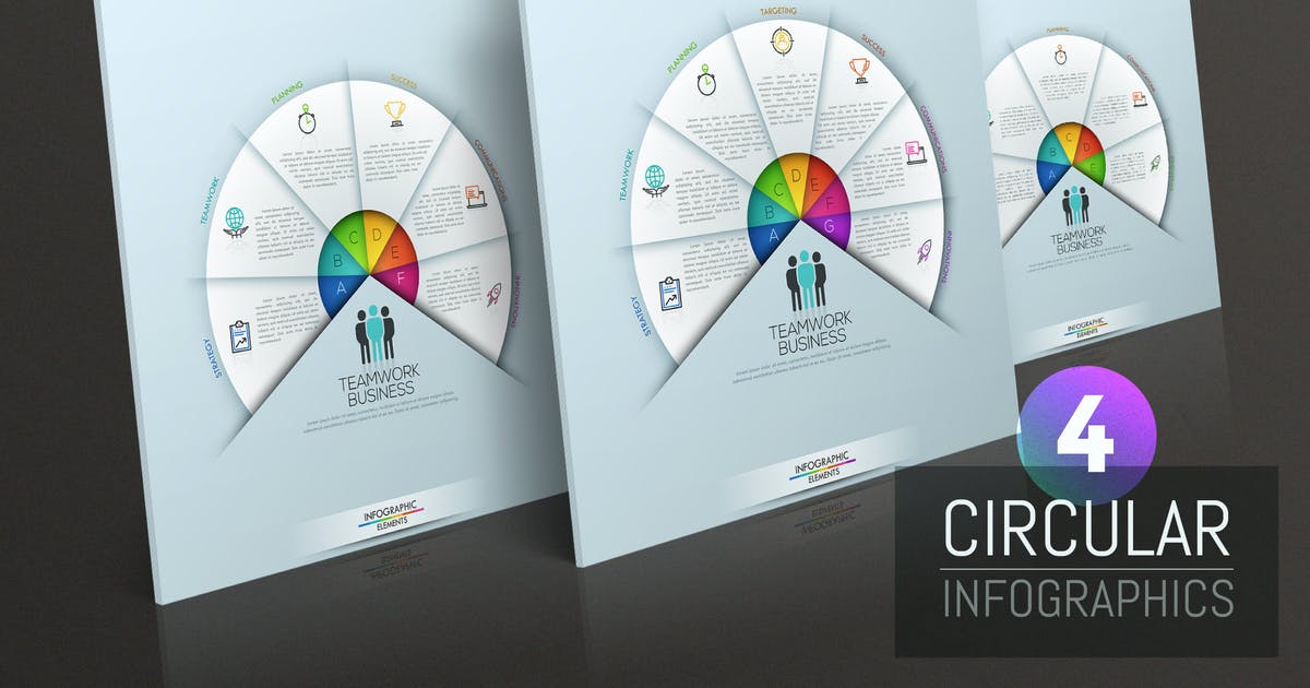 Download 4 Circular Infographic Templates by Andrew_Kras