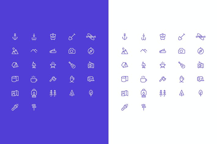 Thumbnail for Simple Vector Camping Icons Set