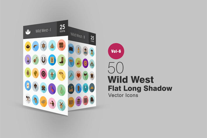 Thumbnail for 50 Wild West Flat Shadowed Icons