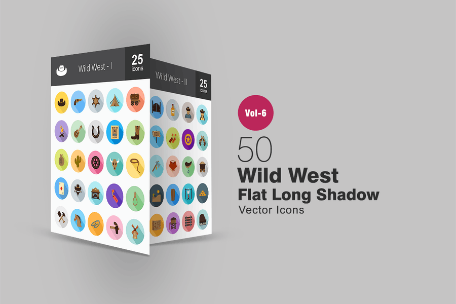 50 Wild West Flat Shadowed Icons