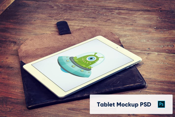 Thumbnail for Tablet on Wooden Table Mockup PSD