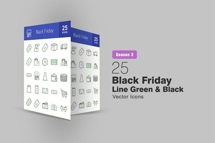 Thumbnail for 25 Black Friday Line Green & Black Icons