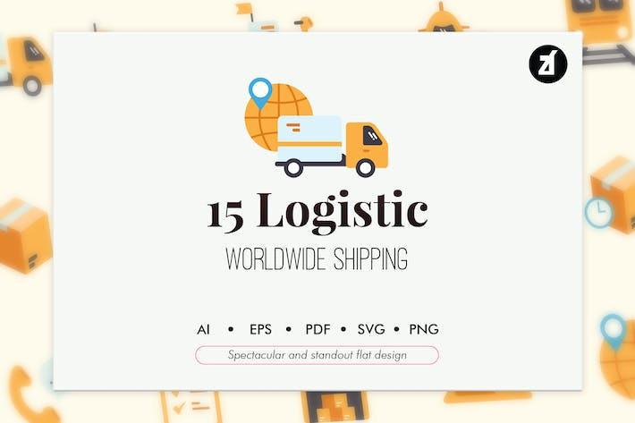 Thumbnail for 15 Logistic elements in flat design
